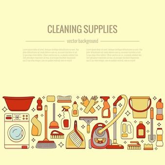 Fournitures de nettoyage ménager illustrations isolées
