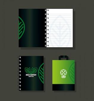 Fournitures de papeterie maquette, couleur verte avec des feuilles de signe, identité verte d'entreprise
