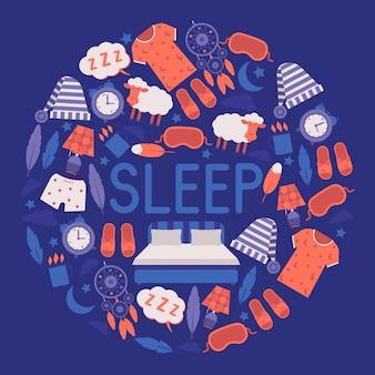Fournitures pour le sommeil et la chambre concept d'équipement et de vêtements de nuit. masque et chapeau de sommeil, pyjama, horloge, veilleuse, tasse de boisson chaude.
