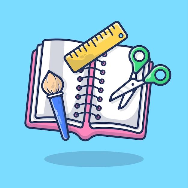 Fournitures scolaires brosse de livre, règle et illustration de ciseaux. outil éducatif, étude d'équipement, concept d'apprentissage. style de bande dessinée plat