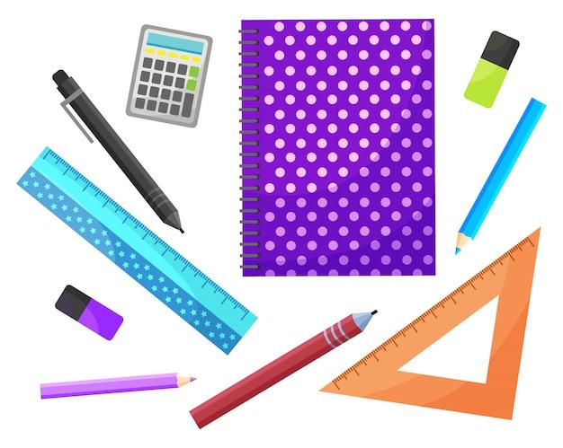 Fournitures scolaires avec cahier et crayon