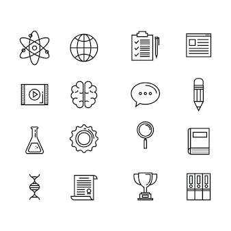Fournitures scolaires définies icônes vector illustration design
