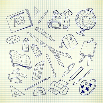 Fournitures scolaires doodle