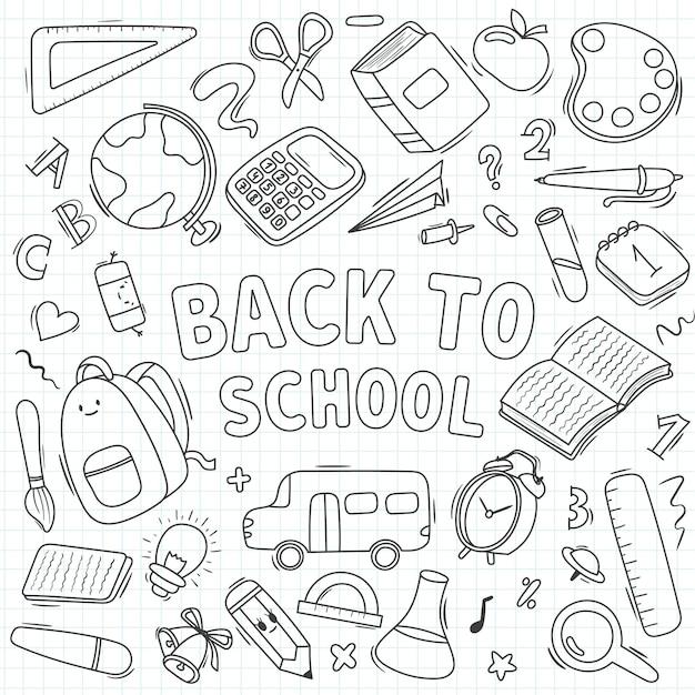 Fournitures scolaires, illustration de fournitures d'écriture