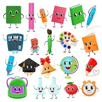 Fournitures scolaires kawaii vecteur outils de scolarisation stylo émoticône marqueurs de crayons colorés