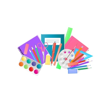 Fournitures scolaires et matériel d'art pour dessiner des peintures acryliques, des pinceaux, des palettes.