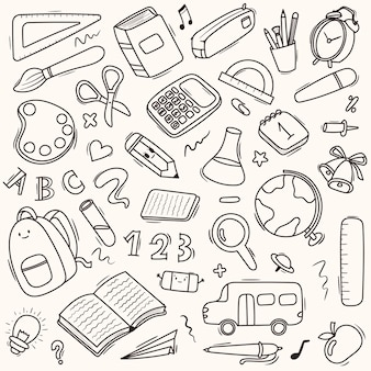 Fournitures scolaires et scolaires de modèle de dessin animé sans soudure de vecteur, papeterie, livres, sacs à dos, autobus scolaire.