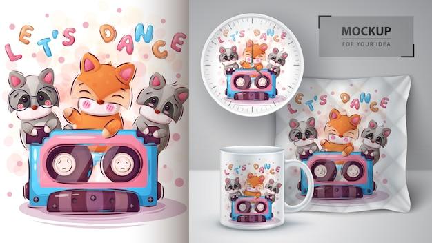 Fox, affiche de danse du raton laveur et merchandising