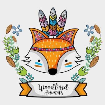 Fox animal tribal avec des plumes