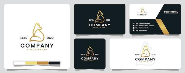 Fox assis, doré, luxe, création de logo et carte de visite
