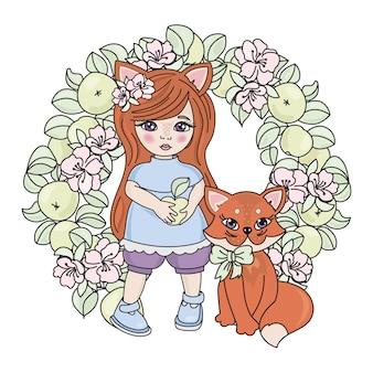 Fox babies spring illustration set