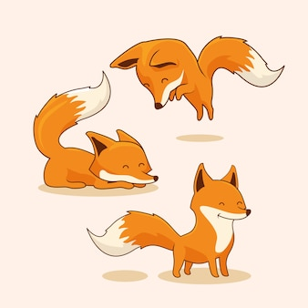 Fox cartoon red fox set