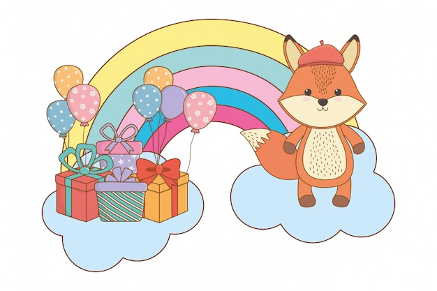 Fox dessin animé avec chapeau