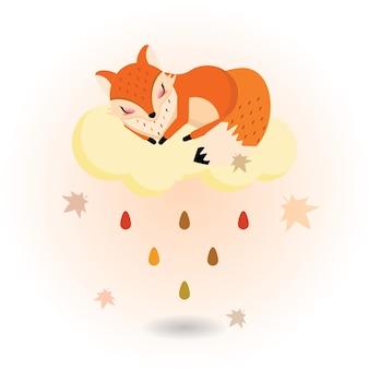 Fox endormi sur le nuage d'automne