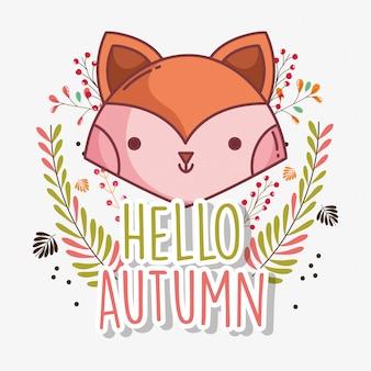 Fox face bonjour carte de voeux d'automne