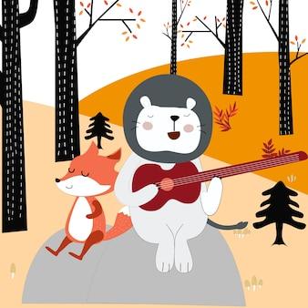 Fox loup et ours en peluche dessin animé jouant de la guitare