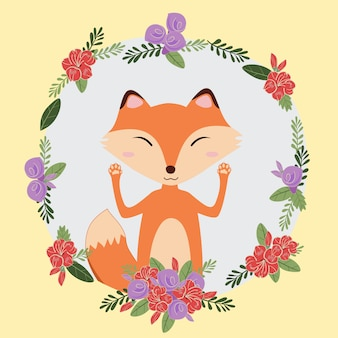 Fox mignon animal dessiné à la main doodle