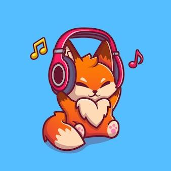 Fox mignon écoute de la musique avec illustration d'icône de dessin animé de casque. concept d'icône de musique animale isolé. style de bande dessinée plat