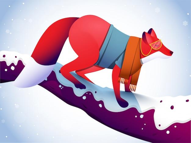 Fox personnage debout sur une branche d'arbre et de neige