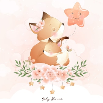 Foxy mignon doodle avec illustration florale