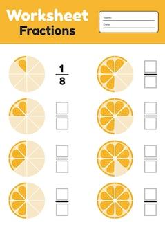 Fractions woorsheet pour les enfants. math pour les enfants d'âge préscolaire et scolaire. orange.