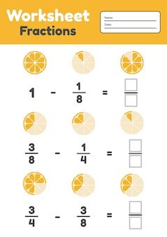 Fractions woorsheet pour les enfants. soustraction. math pour les enfants d'âge préscolaire et scolaire. orange.