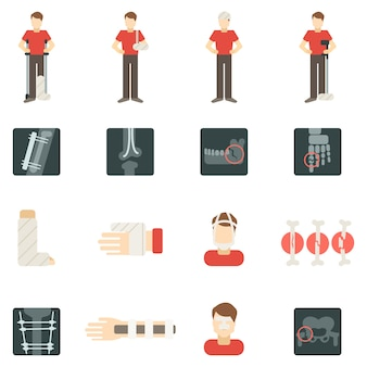 Fracture bone flat icons set