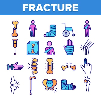 Fracture elements sign icons set