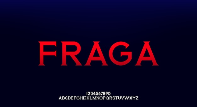 Fraga, une police et un numéro d'alphabet élégants. typographie de conception de mode en majuscules.