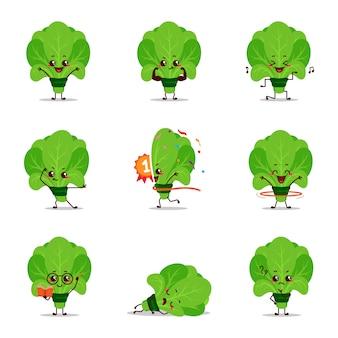 Frais vert amusant personnage icône animation dessin animé mascotte autocollant expression parler activité chanter excité champion lecture nerd