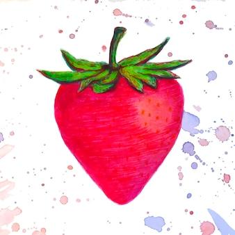 Fraise aquarelle faite d'éclaboussures colorées sur fond blanc. logo vectoriel, icône, illustration de la carte