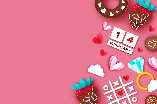 Fraise et chocolat. fond de carte de voeux saint valentin