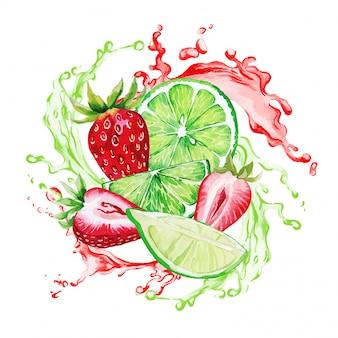 Fraise et citron vert dans les éclaboussures de jus rouge et vert