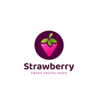 Fraise douce rose sur fond violet rond logo avec texte sous le modèle