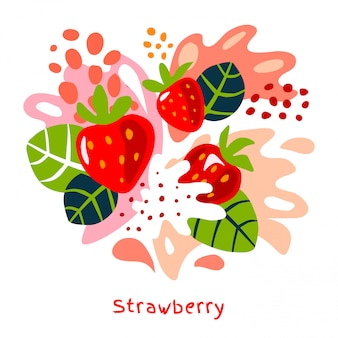 Fraise fraîche baies baies fruits jus éclaboussures aliments biologiques éclaboussures juteuses fraises sur fond abstrait illustrations dessinées à la main