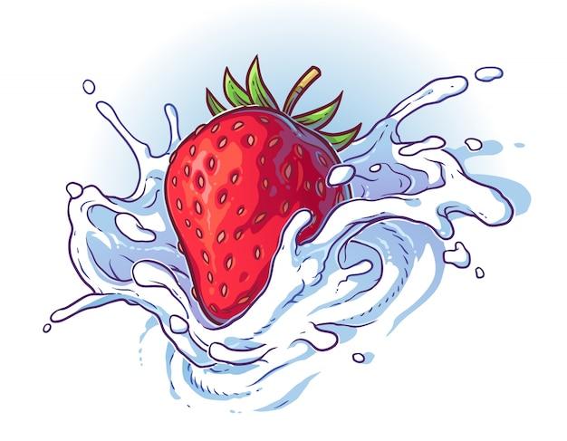 Fraise fraiche fraîche tombant dans la crème ou le lait.