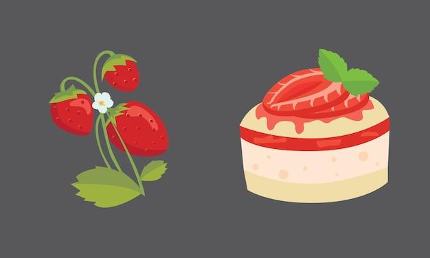 Fraise et gâteau au design plat