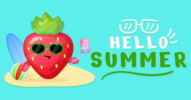 Fraise mignonne avec bannière de voeux d'été