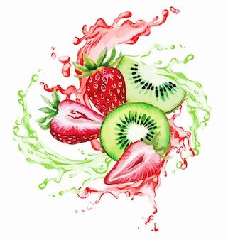 Fraise et qiwi dans les éclaboussures de jus rouge et vert
