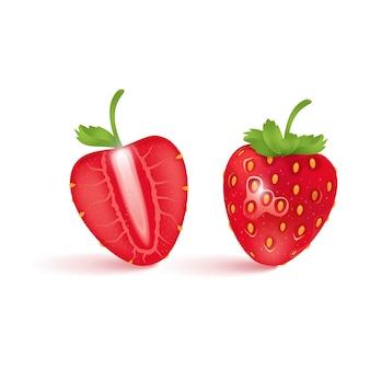 Fraises sur fond blanc, demi fraises