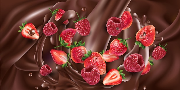 Des fraises et des framboises sont ajoutées au chocolat liquide.