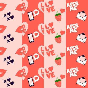 Fraises et lettres d'amour motif valentine