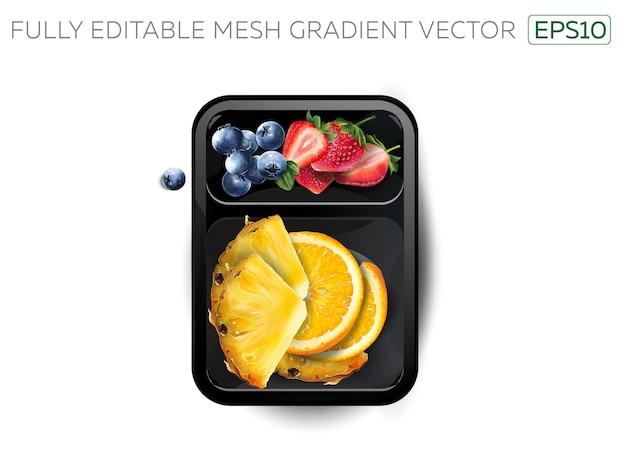 Fraises, myrtilles, orange et ananas dans une boîte à lunch.
