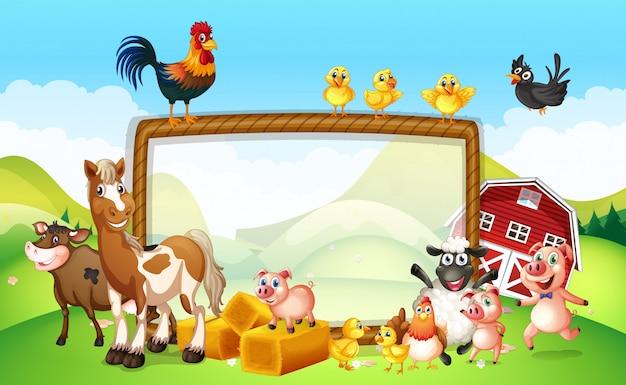 Frame design avec des animaux de la ferme