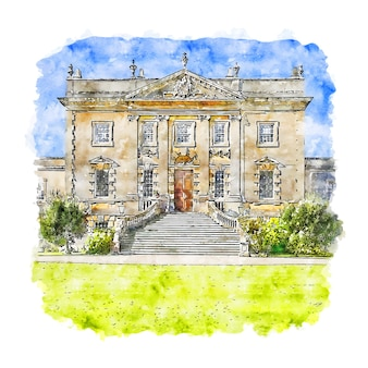 Frampton court estate angleterre croquis aquarelle illustration dessinée à la main