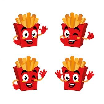 Français frites chef personnage de dessin animé mignon
