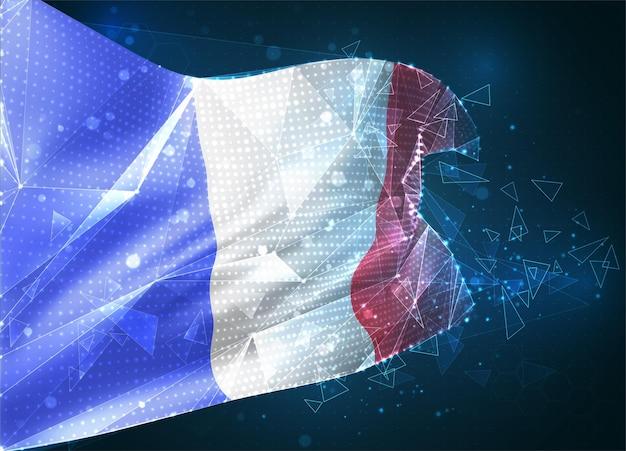 France, drapeau vectoriel, objet 3d abstrait virtuel à partir de polygones triangulaires sur fond bleu