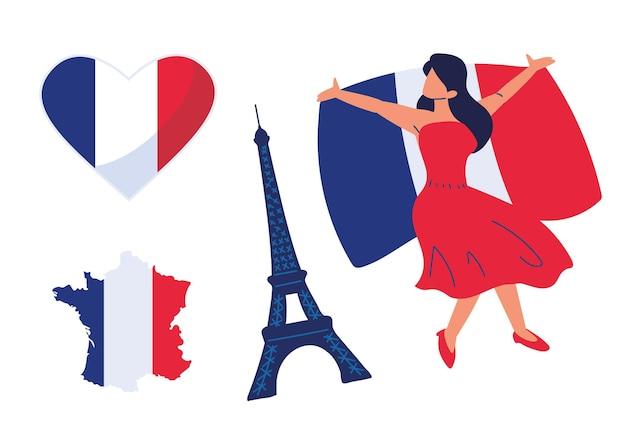 France femme drapeaux