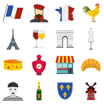 France travel set icons plats
