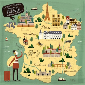 France voyage concept illustration carte avec attractions